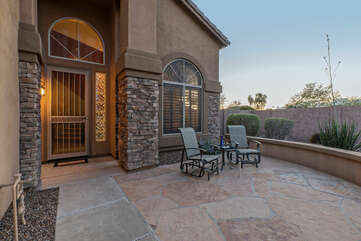 The front patio my be the ideal place to celebrate your exciting vacation in warm and sunny Arizona.