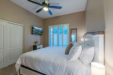 Bedrooms are comfortable and have closet space for your personal effects.
