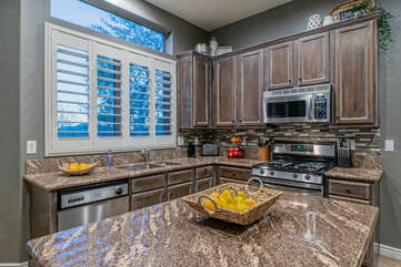 Make healthy meals in our well stocked kitchen with new appliances.