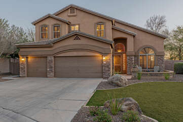 Our 4 BR, 3 BA Las Sendas home has 2 garage spaces for your vehicles plus additional parking in the driveway.