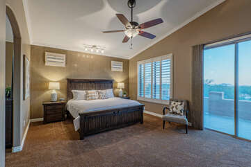The primary suite is upstairs and has a king bed, TV, walk-in closet and ensuite bath.