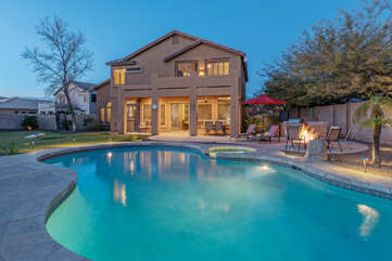 Lagoon style pool can be heated for an additional fee to enjoy year round splashes on sunny days.