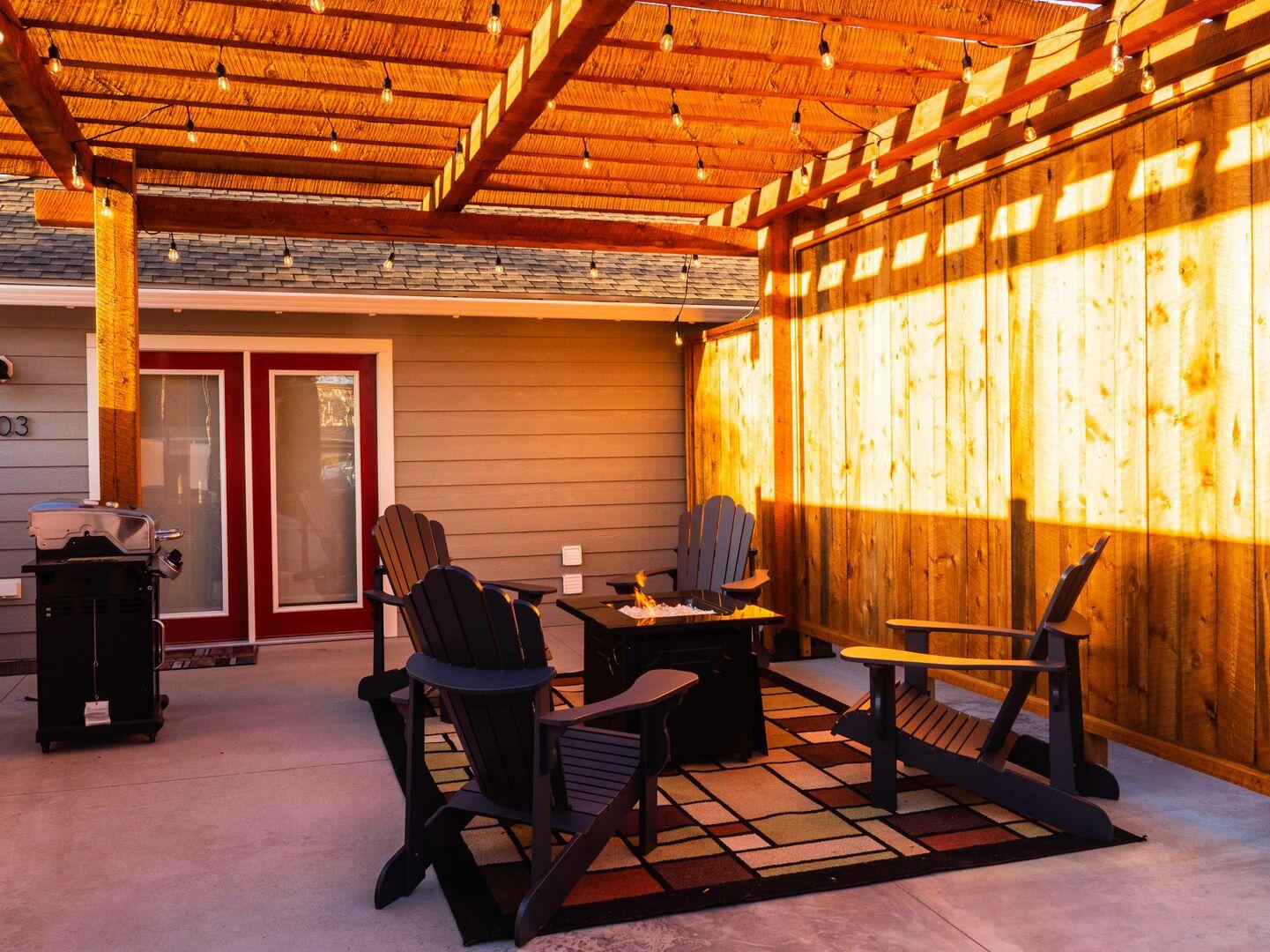 Semi-private patio area