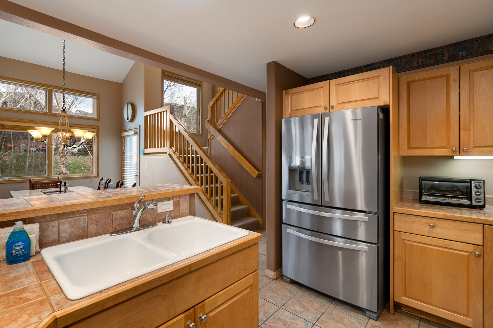 Stainless steel appliances compliment our well equipped kitchen.