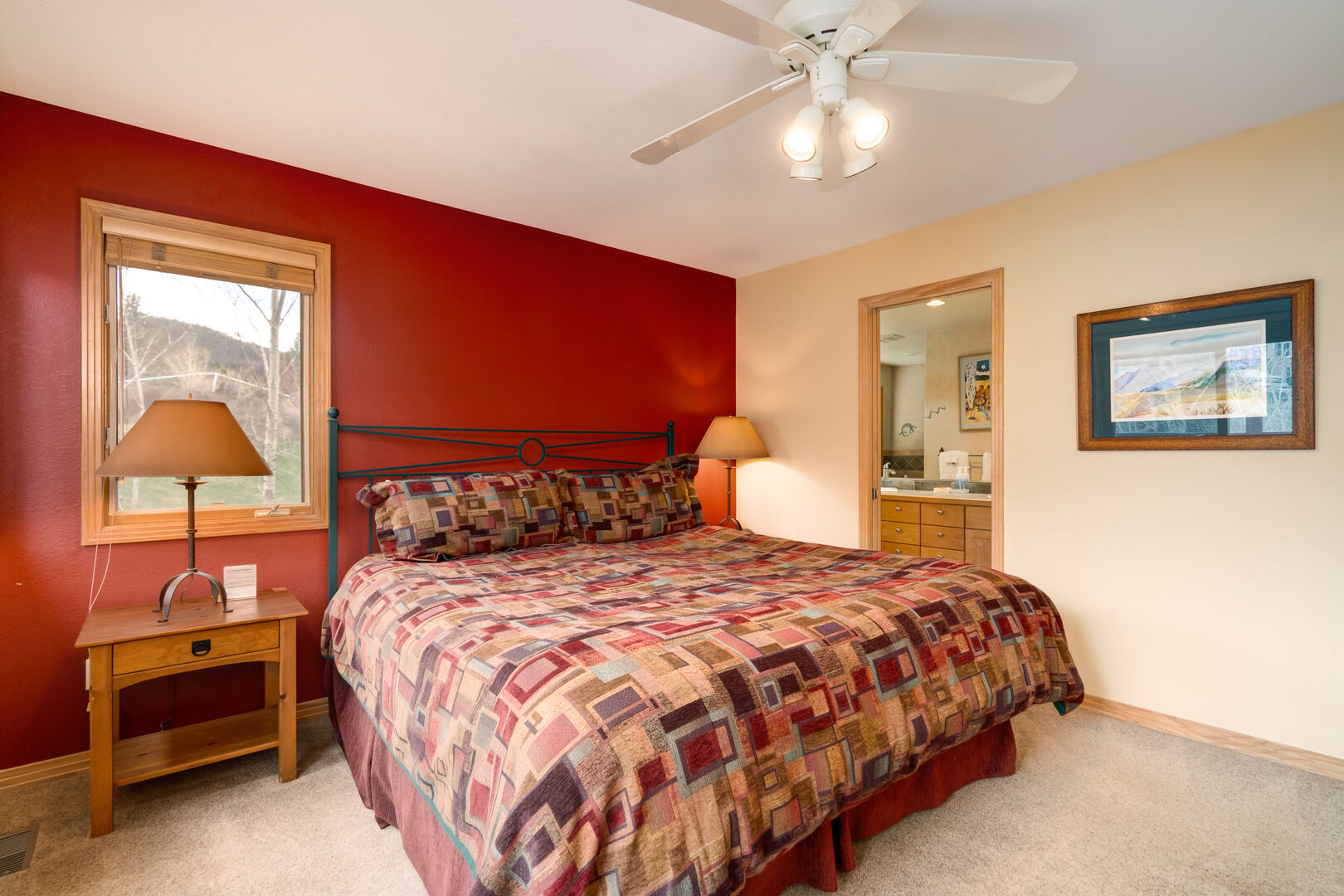 Ceiling fan in the master bedroom to keep you cooled off in the summer months