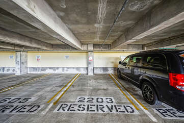 Reserved parking space, located on the 6th floor.