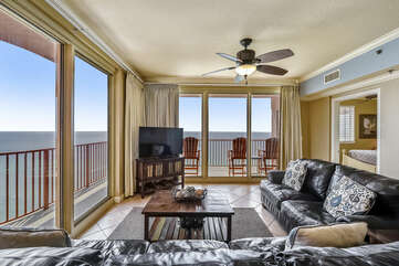 Living room with wrap around balcony.