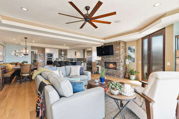 Enjoy this open floor plan that allows you to enjoy ocean views throughput the kitchen, dining, and living room.