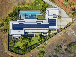 Aerial view of the top of this home.