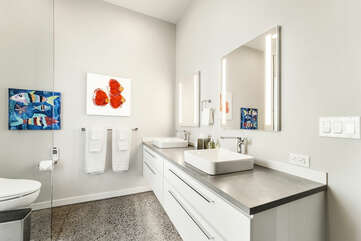 Lave Suite bathroom with dual vanity sink and walk-in shower beside the toilet.