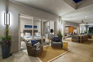 Mer Suite lanai with ample seating and lighting.