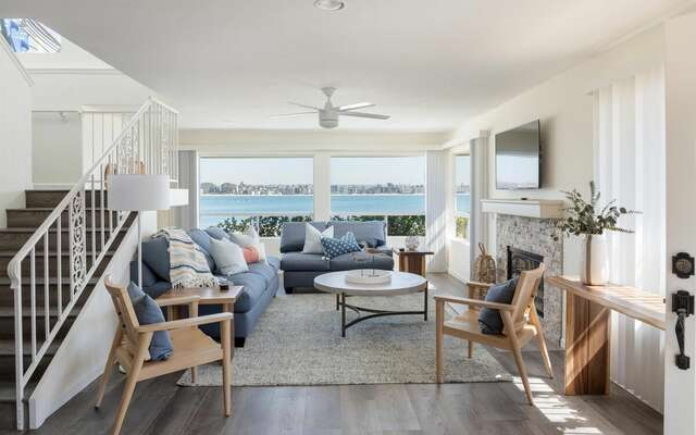 Stunning Bright Living Room w/ Bay Views - Fireplace not for guest use.