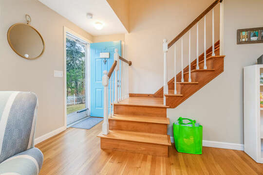 Front entry way and stairs to second floor-46 Har-Wood Ave Harwich- Cape Cod- New England Vacation Rentals