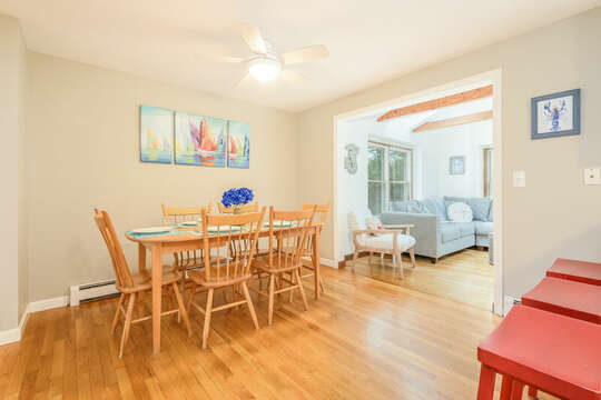 Dining area and sun room -46 Har-Wood Ave Harwich- Cape Cod- New England Vacation Rentals