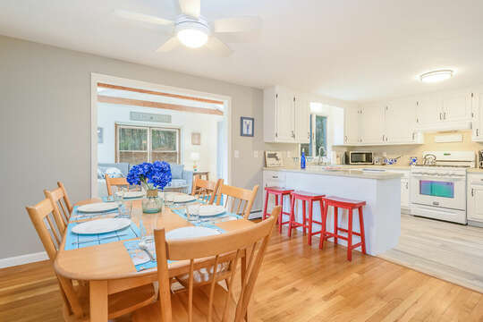 Seating for 6 at the dining room table-46 Har-Wood Ave Harwich- Cape Cod- New England Vacation Rentals