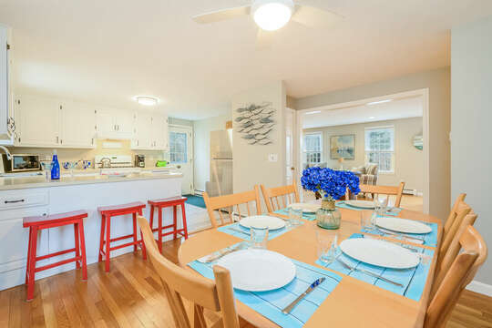 Dining area open to Kitchen with 3 seats at the breakfast bar-46 Har-Wood Ave Harwich- Cape Cod- New England Vacation Rentals