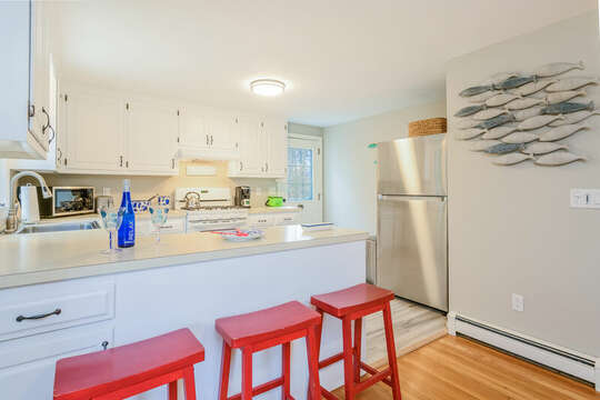 Side entrance into the kitchen , stainless fridge-46 Har-Wood Ave Harwich- Cape Cod- New England Vacation Rentals