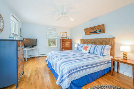 Bedroom #1 King bed, dresser, tv-46 Har-Wood Ave Harwich- Cape Cod- New England Vacation Rentals