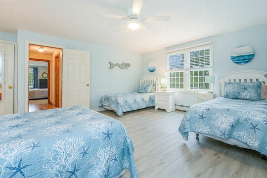 Bedroom #3 with 1 double bed and 2 twins and closet-46 Har-Wood Ave Harwich- Cape Cod- New England Vacation Rentals