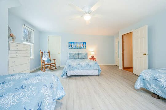 Bedroom #3 with 1 double bed and 2 twins and closet and dresser-46 Har-Wood Ave Harwich- Cape Cod- New England Vacation Rentals