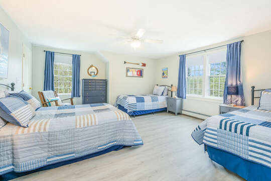 Bedroom #4 with 1 double bed and 2 twins, dresser-46 Har-Wood Ave Harwich- Cape Cod- New England Vacation Rentals