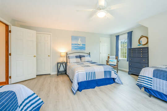 Bedroom #4 with 1 double bed and 2 twins, and dresser-46 Har-Wood Ave Harwich- Cape Cod- New England Vacation Rentals