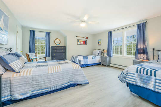 Bedroom #4 with 1 double bed and 2 twins and dresser-46 Har-Wood Ave Harwich- Cape Cod- New England Vacation Rentals