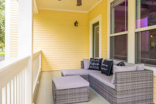 Front porch with comfortable sectional