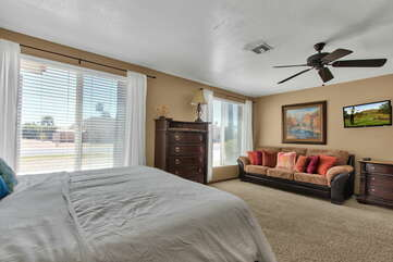 Master Bedroom 3 with a King Bed, Queen Sleeper Sofa, HD TV with Cable and Private Bath