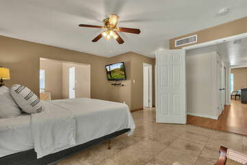 Master Bedroom with Double Door Entry, HD TV with Cable, and a Separate Full Bath