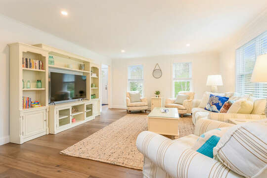Large screen TV in Living room - 21 Moon Compass Lane Sandwich Cape Cod - New England Vacation Rentals