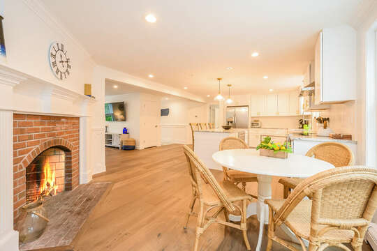 Kitchenette with fireplace - 21 Moon Compass Lane Sandwich Cape Cod - New England Vacation Rentals