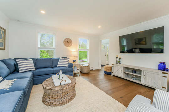 Family room with large screen TV - 21 Moon Compass Lane Sandwich Cape Cod - New England Vacation Rentals