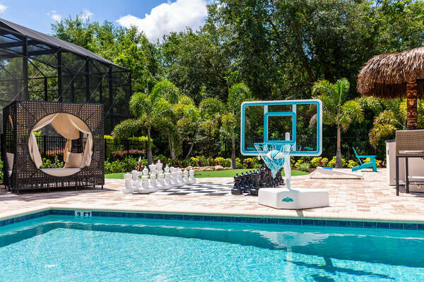 Kids and adults will love to shoot hoops in the pool