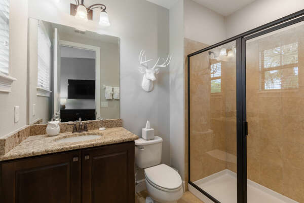 Attached bathroom with walk-in shower