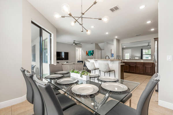 Dine in the formal dining room with seating for 8