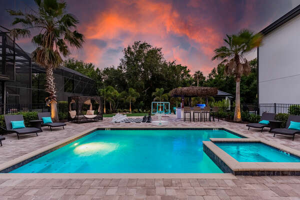 Spend the night under the Florida twilight poolside