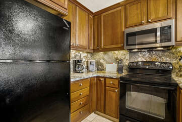 Updated kitchen with oven and fridge.