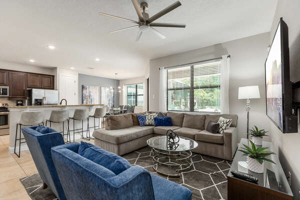 An open floor plan is perfect for entertaining guests