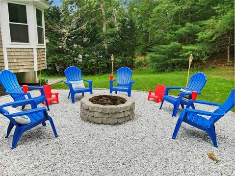 Fire pit for the whole family (look at those cute chairs!) - 21 Moon Compass Lane Sandwich Cape Cod - New England Vacation Rentals