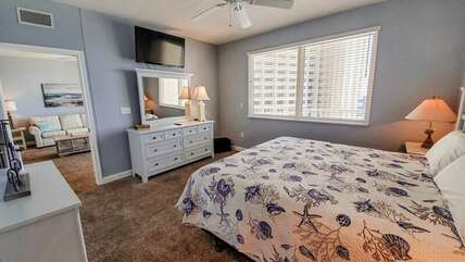 King Master bedroom with view of the Gulf