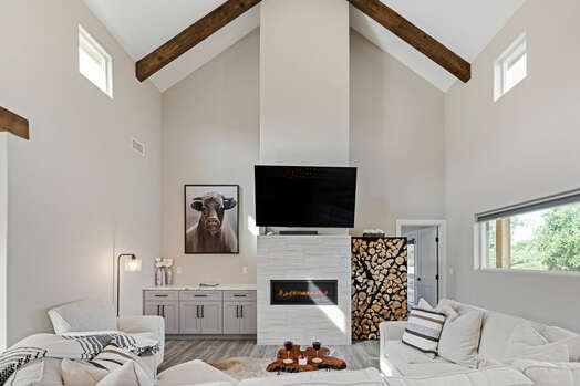 Cozy living room with gas fireplace, 65
