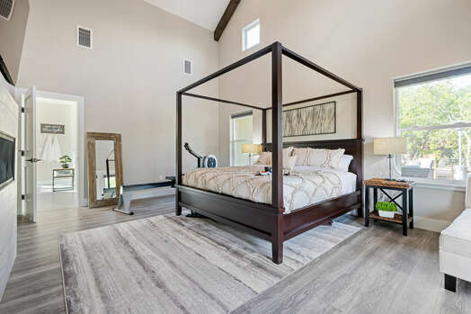 Master Bedroom with a King Bed and Vaulted Ceiling
