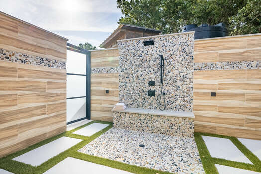 Large Private Outdoor Shower with Two Shower Heads