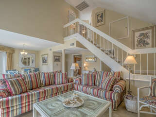 Head upstairs to two bedrooms.