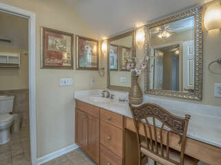 Separate water closet/ shower area.
