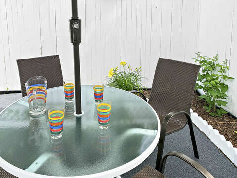 Out door dining at-25 Zylpha Rd Harwich Port- Cape Cod- New England Vacation Rentals