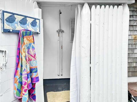Enjoy an the traditional outdoor shower at-25 Zylpha Rd Harwich Port- Cape Cod- New England Vacation Rentals