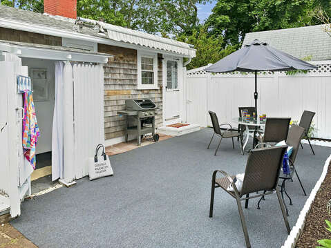 Back yard patio with outdoor shower at-25 Zylpha Rd Harwich Port- Cape Cod- New England Vacation Rentals