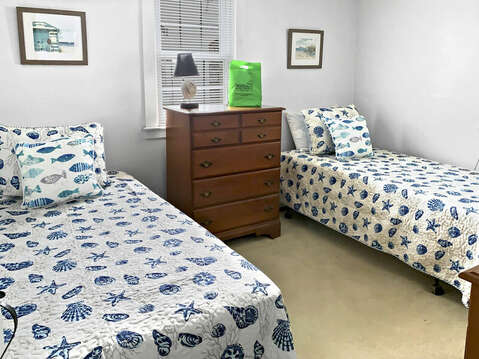 Bedroom #2 with 2 Twin beds dresser and closet-25 Zylpha Rd Harwich Port- Cape Cod- New England Vacation Rentals